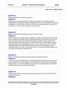Ncert Xii Biology - Solutions