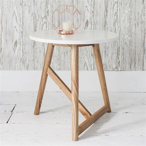 office desk furniture 180410 artisan side table in semi gloss white with ash legs 28196