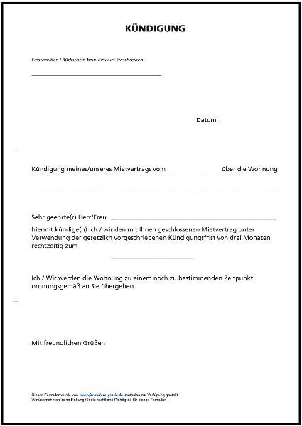 kündigung eines mietvertrages vorlage k 252 ndigung mietvertrag formulare gratis