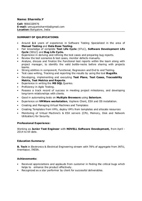 Sle Nursing Resume 1 Year Experience by Sle Resume For 2 Years Experience In Testing 2 Years Of