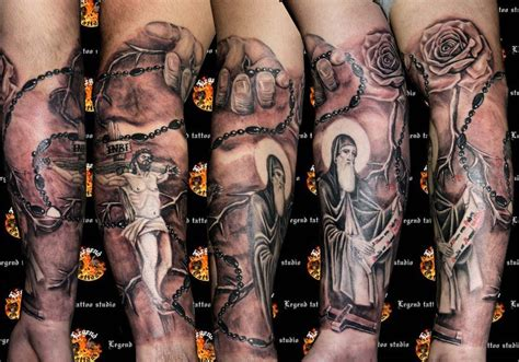 religious  sleeve tattoo legendtattoo deviantart ink