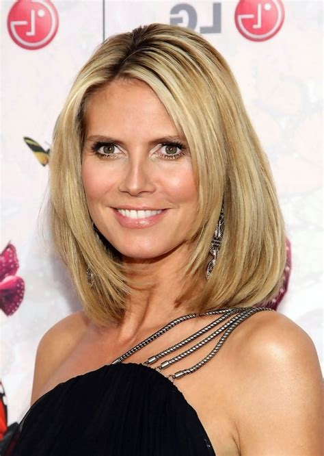 heidi klum medium straight blonde bob hairstyle  women