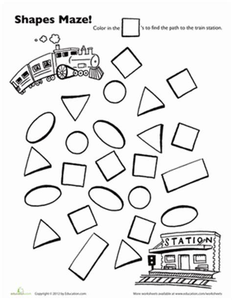 choo choo train shape maze worksheet educationcom