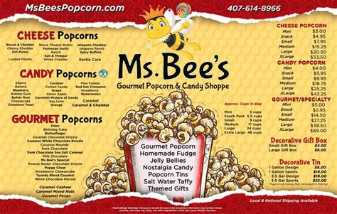 ms bees gourmet popcorn  candy store orlando florida