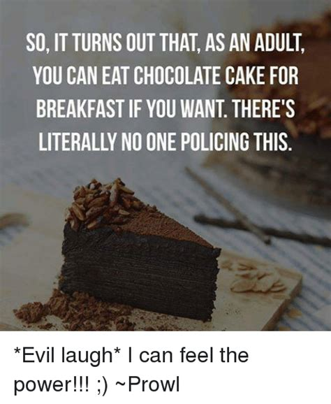 Chocolate Cake Meme - so it turns out that as an adult you can eat chocolate cake for breakfast if you want there s