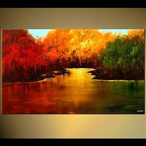 Painting - red yellow and green forests near a lake #5823