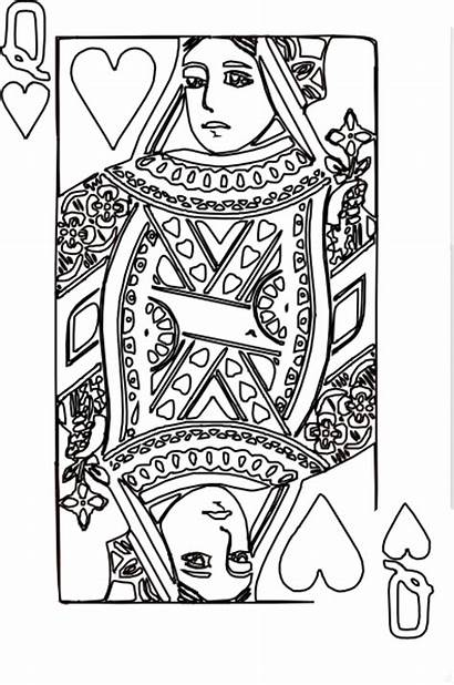 Queen Hearts Coloring Pages Cards Clip Card