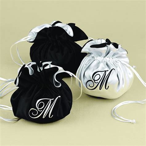 monogrammed pouch satin jewelry pouch reversible jewelry