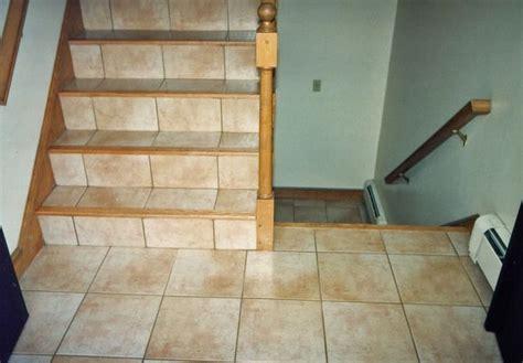 ceramic tile  stairs  hardwood floor bullnose