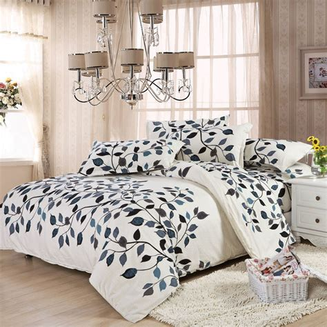 Brown Patterned Duvet Cover by Cotton Leaves White Blue Brown Morden Style