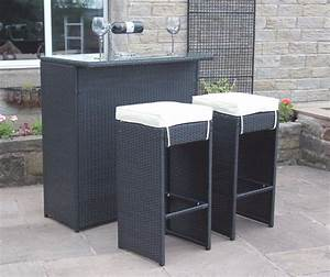 2 Seater Bar Set in Black Rattan with Grey Cushions ...