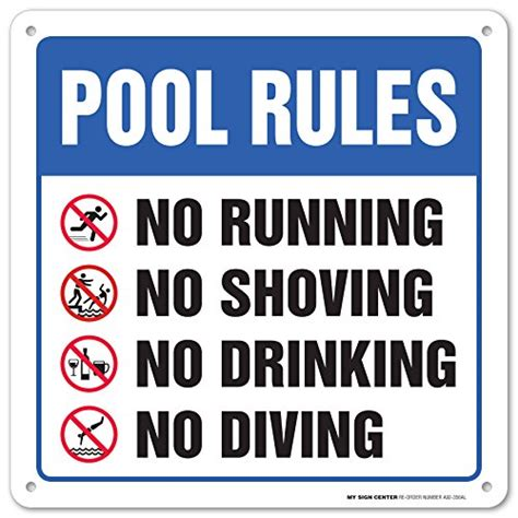 "Swimming Pool Safety Rules Laminated Sign  12""x12"" 040"