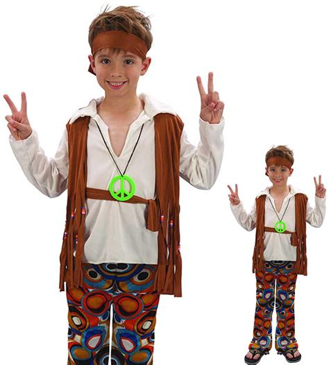 Childrens Kids Boys Hippy Hippie 1960s Fancy Dress Costume | eBay