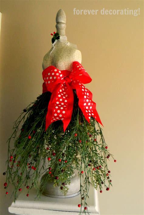 decorating christmas greenery dress form tutorial