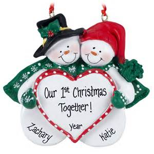 our 1st christmas together snow couple big heart ornament personalized ornaments for you