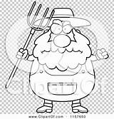 Farmer Pitchfork Cartoon Coloring Anger Waving Plump Outlined Clipart Vector Cory Thoman sketch template