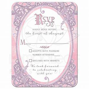 pink purple fairy tale wedding reply card once upon a With wedding invitation rsvp time frame