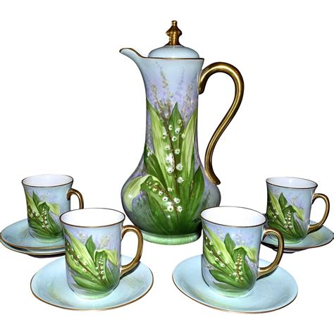 limoges chocolate set lily   valley hand painted