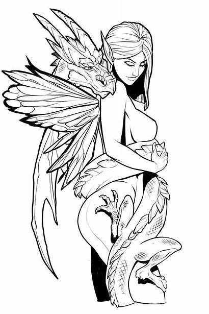 Coloring Fantasy Printable Fairy Teens Adults Dragon