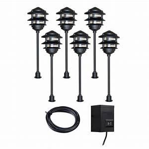 Portfolio light black low voltage path lights