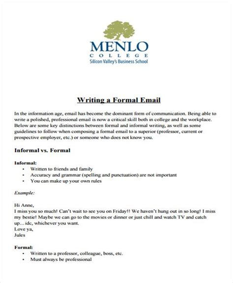 sample formal letter format  examples   word