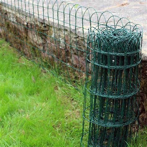 green garden fence garden border lawn edging 10m x 0 25m green pvc coated 1374