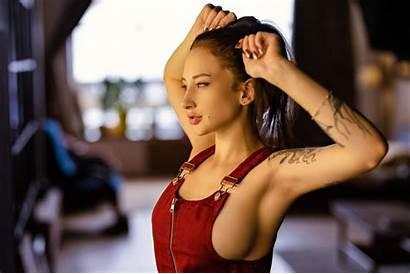 Bra Overalls Sideboob Brunette Holding Tattoo Armpits