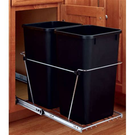 trash can kitchen sink rev a shelf pull out waste containers 2 x 27 8584