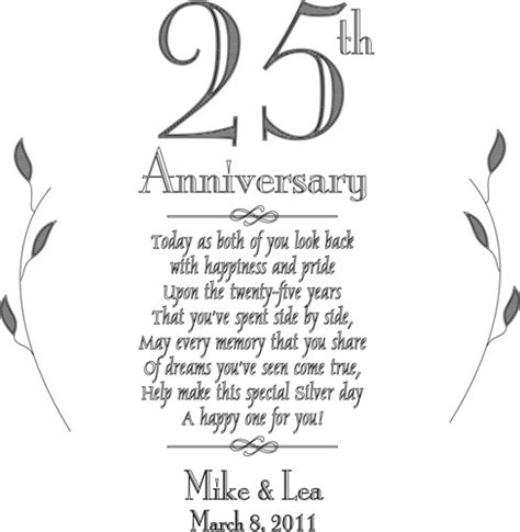 4th wedding anniversary gifts for personalized plate 25th silver anniversary keepsake plate