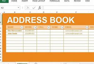 Address book maker template for excel for Microsoft excel address book template