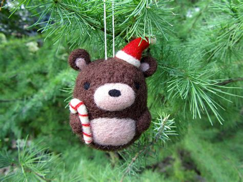 bear christmas ornaments needle felted ornament ornament