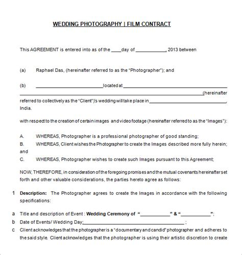 photography contract template   word
