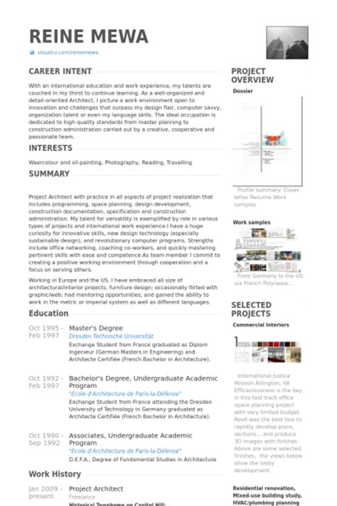 Architect Curriculum Vitae Exles by Project Architect Resume Sles Visualcv Resume Sles Database