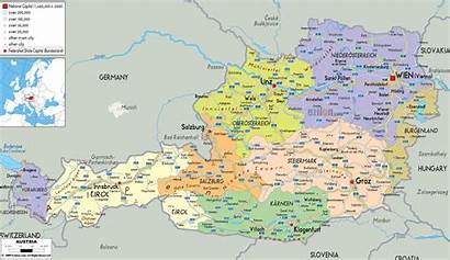 Map Austria Maps Political Ezilon Europe Austrian