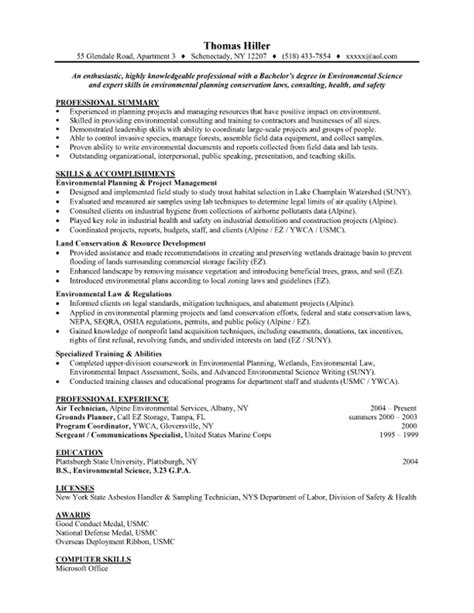 environmental science entry level resume sles vault