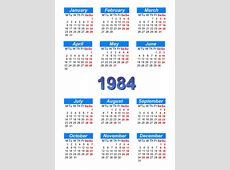 Calendar 1984 to print and download in PDF abccalendar