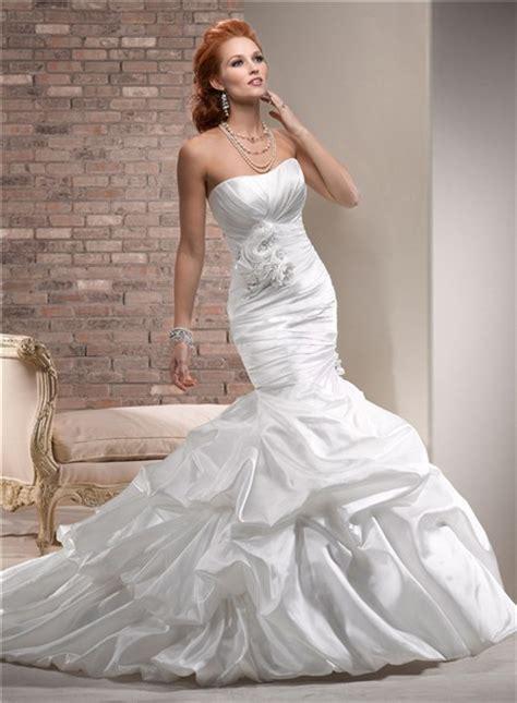 Designer Mermaid Strapless Ruched Taffeta Wedding Dress