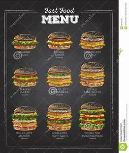 Set Of Vintage Chalk Drawing Sandwich Fast Food Menu