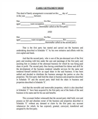 family agreement form sle settlement agreement forms 9 free documents in