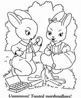 Coloring Easter Pages Bunny Campfire Sheets Sheet Rabbit Bunnies Printable Hard Colouring Activity Eggs Roasting Marshmallows Rabbits Cartoon Adult Camp sketch template