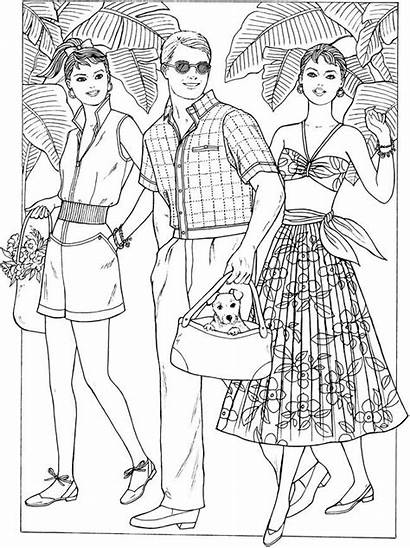Coloring Pages 1950s Adult Dover Creative Colouring