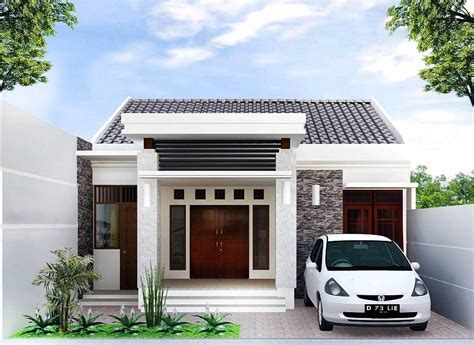 desain rumah minimalis type   model teras batu