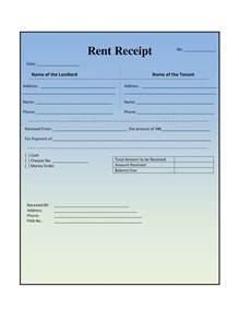 Rent Receipt Template Word