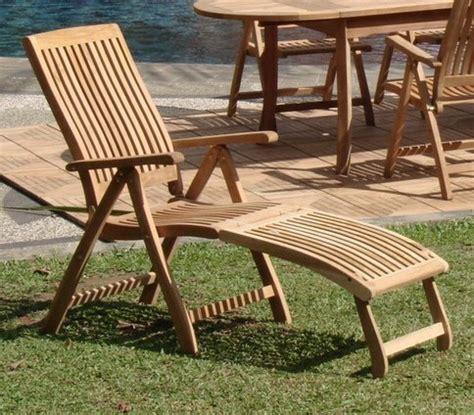 2 pc teak reclining folding chair w footrest dining garden