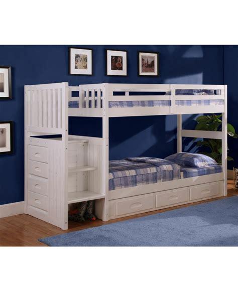 lit superposé avec lit superposé 39 quot 39 quot avec marches blanc 0214