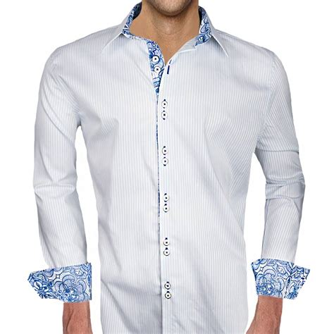 mens designer dress shirts white with blue accent dress shirts