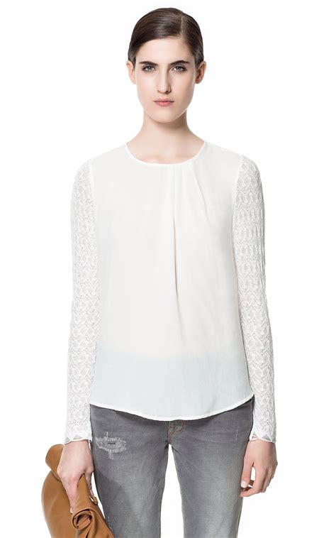 zara blouse zara lace blouse in white lyst