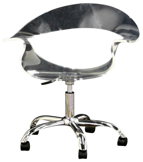 Acrylic Desk Chair On Casters by Baxton Studio Kerr Acrylic Swivel Chair In Clear
