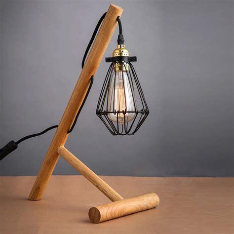 edison bulb desk l industrial wood table light art craft desk l handmade