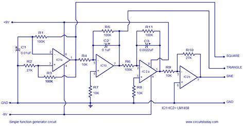 simple function generator circuit based on op lm1458
